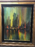 Untitled Cityscape 40x34 Original Painting by Ozz Franca - 1