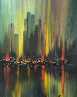 Untitled Cityscape 40x34 Original Painting - Ozz Franca