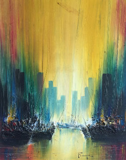 Untitled Cityscape 1974 40x34 Original Painting by Ozz Franca