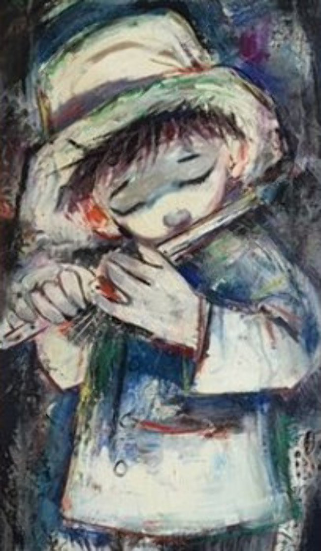 Standing Blue Boy With Flute 34x23 Original Painting by Ozz Franca