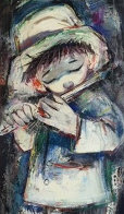 Standing Blue Boy With Flute 34x23 Original Painting by Ozz Franca - 0