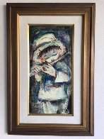Standing Blue Boy With Flute 34x23 Original Painting by Ozz Franca - 1