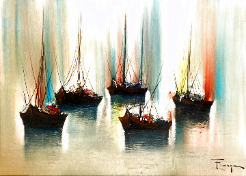 Untitled Seascape 26x32 Original Painting - Ozz Franca