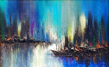 Untitled (Evening Seascape) 34x44 Huge Original Painting - Ozz Franca