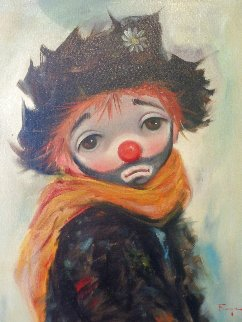 Clown Original 1960 27x23 Original Painting - Ozz Franca