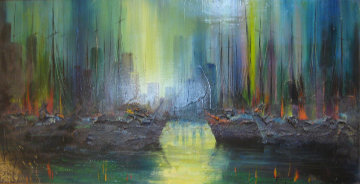 Untitled Painting 24x48 Original Painting by Ozz Franca