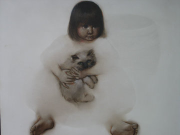 Untitled Child Portrait 1986 36x36 Original Painting - Ozz Franca