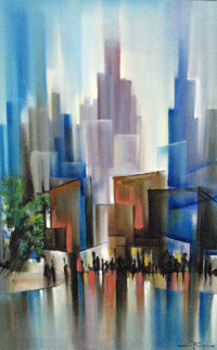 Untitled (Wet City Streets) Painting 31x43 Huge Original Painting - Ozz Franca