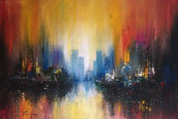 Untitled Cityscape 1974 21x27 Original Painting by Ozz Franca