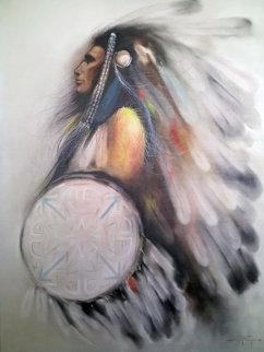 Chief 1982 51x39 Huge Original Painting - Ozz Franca