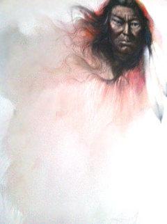 Navajo Chief 1987 49x37 Huge Original Painting - Ozz Franca