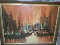 Untitled (Boats in Harbour) Early 1950 34x44 Original Painting by Ozz Franca - 1