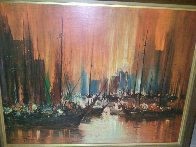 Untitled (Boats in Harbour) Early 1950 34x44 Original Painting by Ozz Franca - 2