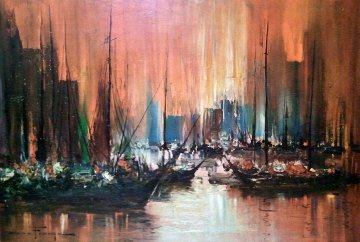 Untitled (Boats in Harbour) Early 1950 34x44 Original Painting - Ozz Franca