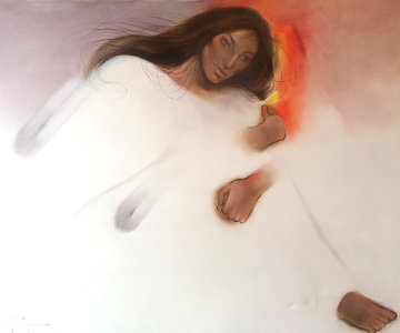 Native American Woman 1980 48x60 Original Painting by Ozz Franca