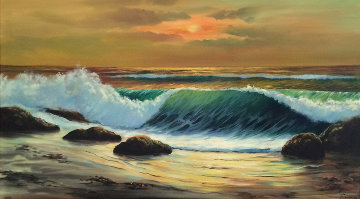 Seascape 1960 32x58 Original Painting - Ozz Franca