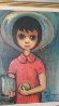 School Year (Big Eyed school of painting) 22x26 1959 Original Painting by Ozz Franca - 1