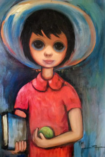 School Year (Big Eyed school of painting) 22x26 1959 Original Painting by Ozz Franca