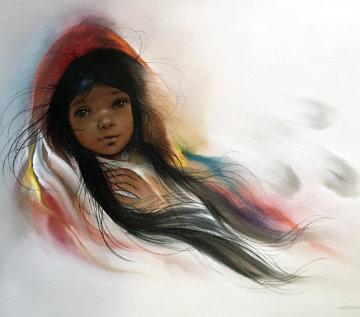 Red Shawl 1984 24x30 Original Painting by Ozz Franca