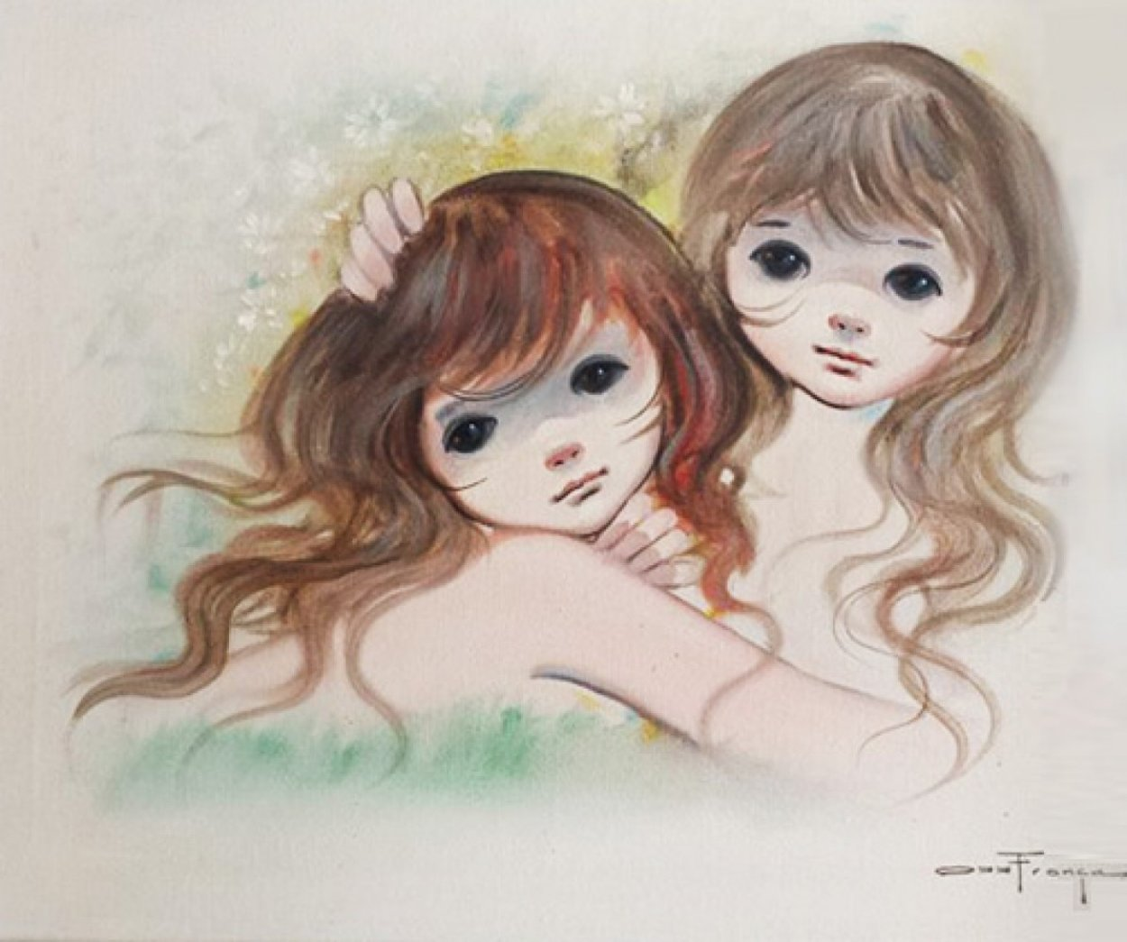 Big Eyed Girls 1960 29x34  Original Painting by Ozz Franca