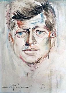 JFK Portrait 1967 24x28 Original Painting by Ozz Franca