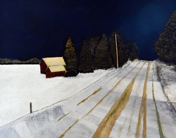 Bell Line Road, Night 12x16 Original Painting - David Francey