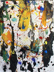 Untitled painting and monotype on paper, and ghost 1990 Original Painting - Sam Francis