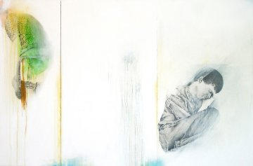 No! ... II (tryptic) 2008 38x62 Original Painting - Francisco Ferro