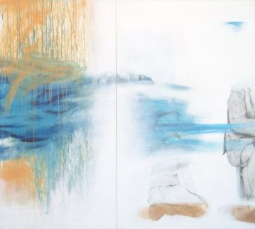 I Will Return You the Smile (diptych) 2002 47x51 Super Huge Original Painting - Francisco Ferro