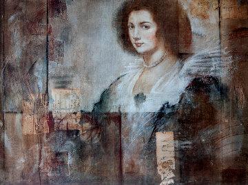 Untitled Portrait of a Woman 32x43 Super Huge Original Painting - Richard Franklin