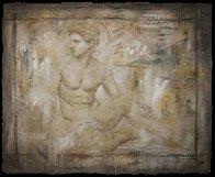 Untitled Grecian Man 36x44 Super Huge Original Painting by Richard Franklin - 4
