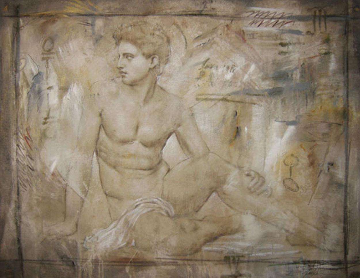 Untitled Grecian Man 36x44 Super Huge Original Painting by Richard Franklin