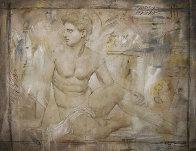 Untitled Grecian Man 36x44 Super Huge Original Painting by Richard Franklin - 0