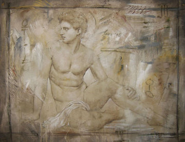 Untitled Grecian Man 36x44 Super Huge Original Painting - Richard Franklin