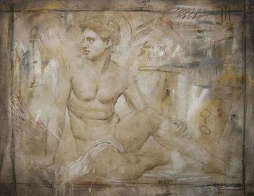 Untitled Grecian Man 36x44  Huge Original Painting - Richard Franklin