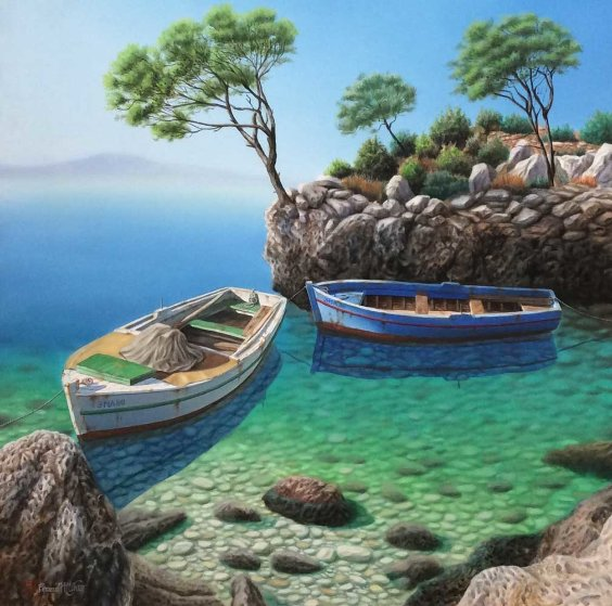 Hidden Cove 2003 48x48 Original Painting by Frane Mlinar