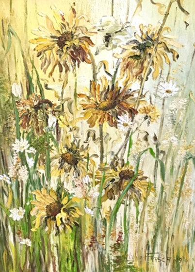 Sunflowers 1970 47x36 Original Painting by Liliana Frasca