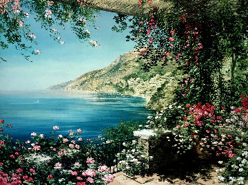 View of Positano 2000 Embellished Limited Edition Print - Liliana Frasca