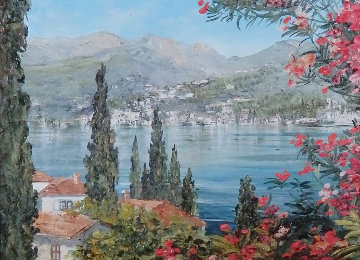 Lake Como, Italy 15x18 Original Painting - Liliana Frasca