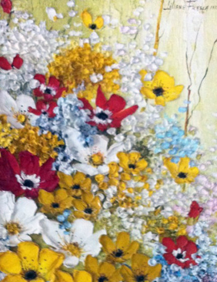 French Bouquet 1973 19x16  Original Painting by Liliana Frasca