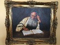 Rabbi Reading  1970 20x24  Original Painting by Kenneth M. Freeman - 1