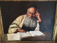 Rabbi Reading  1970 20x24  Original Painting by Kenneth M. Freeman - 2