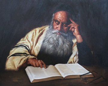 Rabbi Reading  1970 20x24  Original Painting - Kenneth M. Freeman