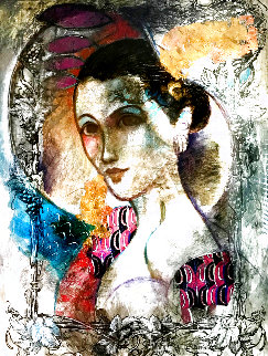 Femme Du Soir 67x55 Huge Original Painting - Francois Fressinier