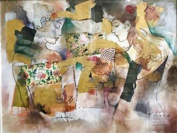 Les Dames Du Lac 53x64 Huge Original Painting - Francois Fressinier