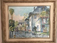 Looking South on Aviles Street 1950  19x16 Original Painting by Emmett Fritz - 1