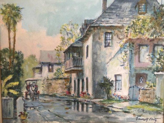 Looking South on Aviles Street 1950  19x16 Original Painting by Emmett Fritz