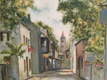 View South on Saint George Street  St. Augustine Fl 1950  21x16 Original Painting - Emmett Fritz