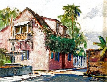 Untitled St Augustine Street Scene 1950 24x20 Original Painting - Emmett Fritz