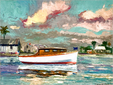 Untitled Boat on Water 1950 24x20 Florida Original Painting - Emmett Fritz